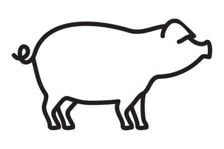 Schweinefleisch Umriss Vektor-Symbol Vektorgrafik