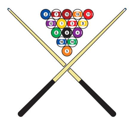 cue sticks: billiard vector illustration