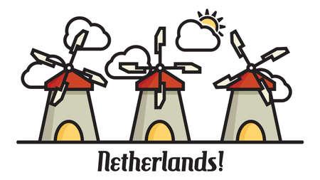Windmill Netherlands cartoon vector