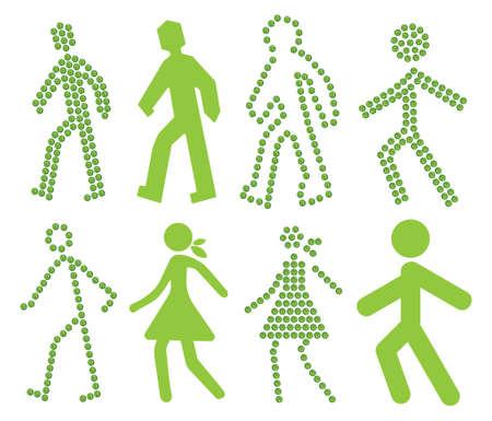 Crosswalk green vector icons