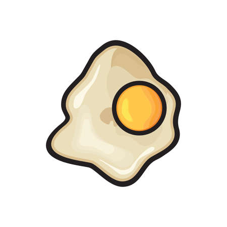 sunny side up eggs: Fried egg vector icon
