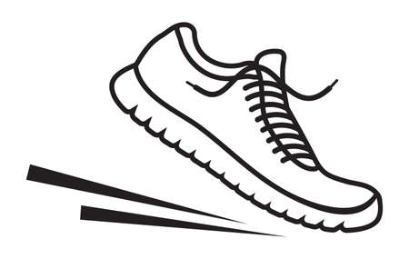 gym equipment: Running shoes vector icon