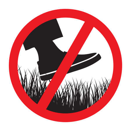 Please keep of the grass sign Illustration