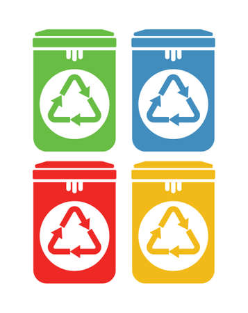 Recycle garbage bins vector icons