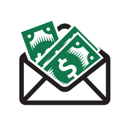 dollar bills in the envelope vector icon