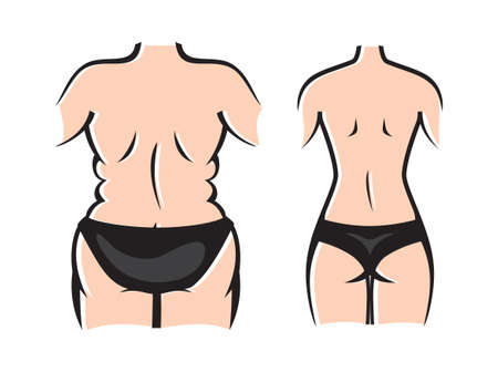 Slim and fat woman before and after weight loss