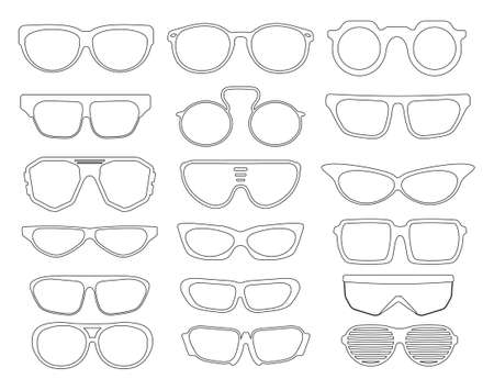 Sunglasses set vector icons Stock Illustratie