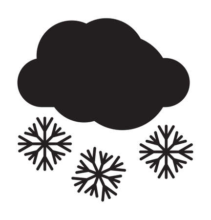 Cloudy and snow weather vector icon Stock Illustratie