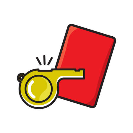 Football referee whistle with red card Stock Illustratie