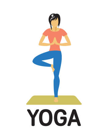 Woman doing yoga vector icon