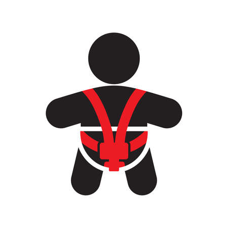 Baby car seat vector icon