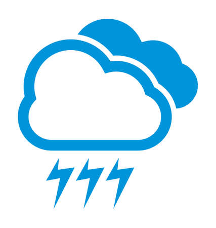 Cloudy and storm weather vector icon