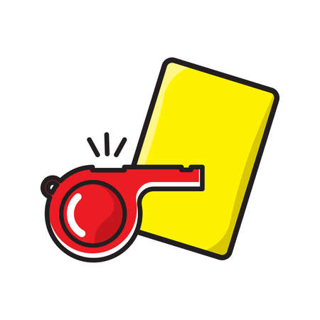 Football referee whistle with yellow card Illustration