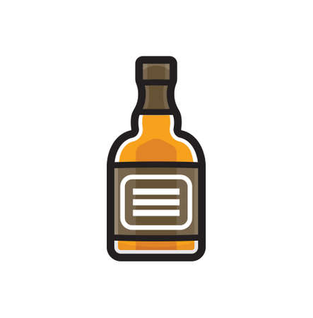 bourbon: Alcohol bottle - whiskey bottle vector icon