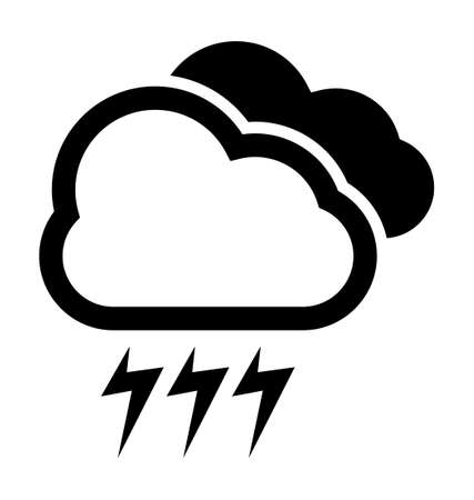 storm clouds: Cloudy and storm weather vector icon