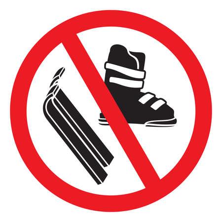 No Ski boot and skiing  イラスト・ベクター素材