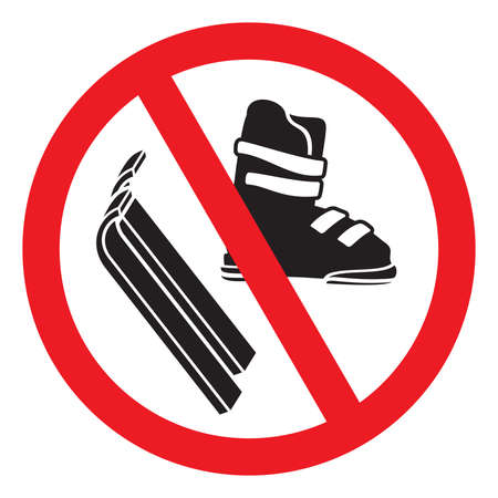 No Ski boot and skiing 向量圖像