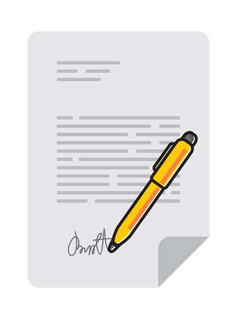 hand holding paper: Agreement contract symbol vector illustration