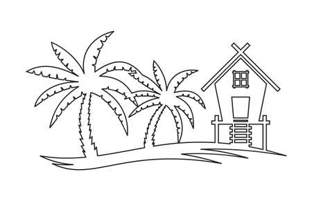 Tropical summer vector illustration - Palm tree and Beach House Illustration