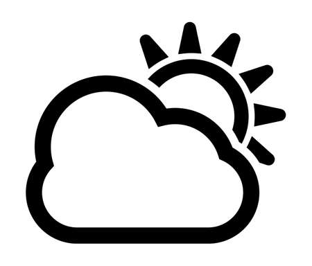 overcast: Cloudy and sun weather vector icon Illustration