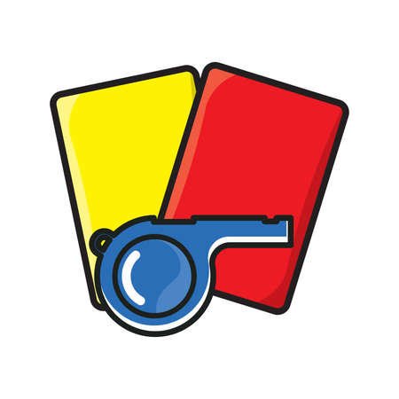 football referee whistle with yellow and red card