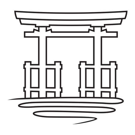 torii gate vector icon