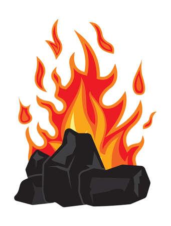 Carbone e fuoco Vettoriali