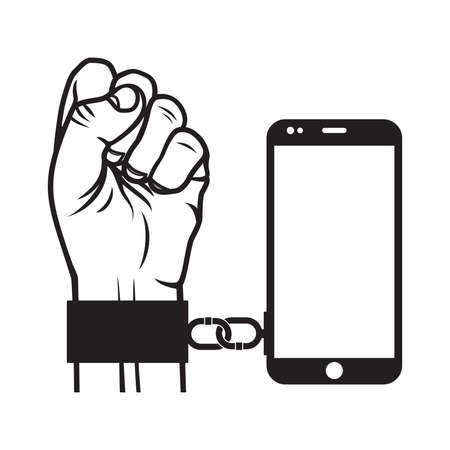 Smart phone slave vector illustration