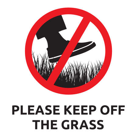 sign: Please keep of the grass sign Illustration