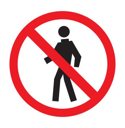 prohibido el paso: No hay zona para caminar Vectores