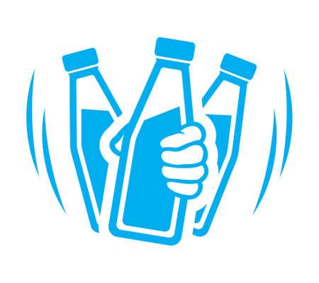 Flasche Joghurt vor Gebrauch schütteln