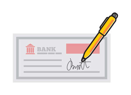 paper currency: bank cheque - bank check isolated Illustration