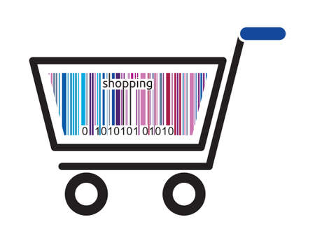 Shopping cart with bar code icon