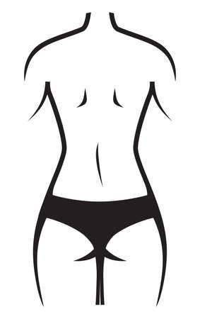fat and slim: Slim woman after weight loss Illustration