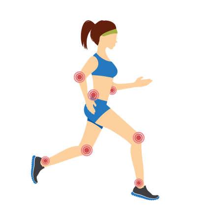 Woman joint pain vector illustration