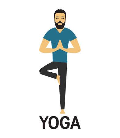 Hombre haciendo icono de vector de yoga