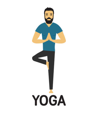 Man doing yoga vector icon