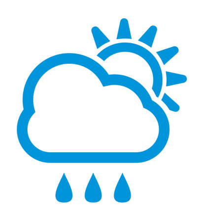 rain weather: Rain and sun weather vector icon Illustration