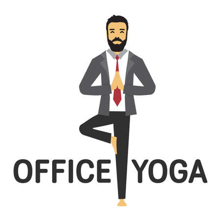 Man doing office yoga vector icon