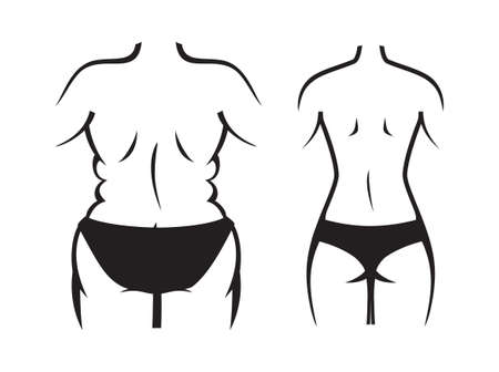 Fat and slim woman, before and after weight loss Illustration
