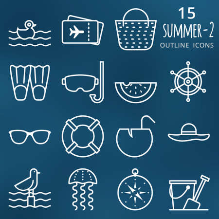 pixel perfect: Summertime. Set of 15 pixel perfect outline vector Summer icons