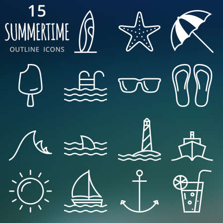 harbor: Summertime. A perfect summer outline icons Illustration