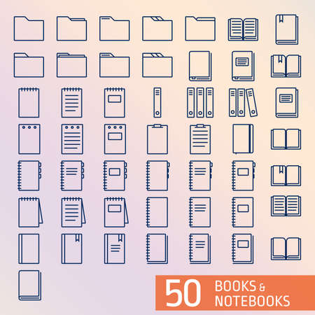 50 Books  Notepad outline icons