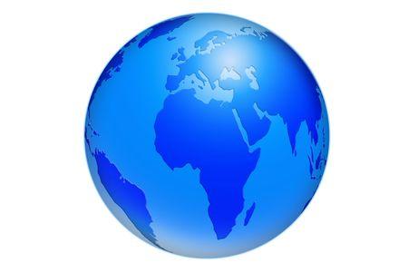 globus: blue eart ball illustration Stock Photo