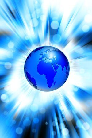 globus: blue world globe on a dynamic background Stock Photo