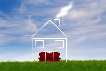 symbolic immobile  illustration on a field and a couch in the house Stock Photo
