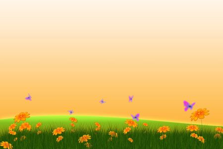 fresh spring card with flowers and butterflies Stock Photo - 6672855