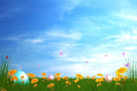 easter garden illustration 스톡 사진