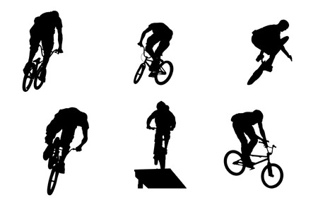 mountainbike: mountainbike silhouettes Stock Photo