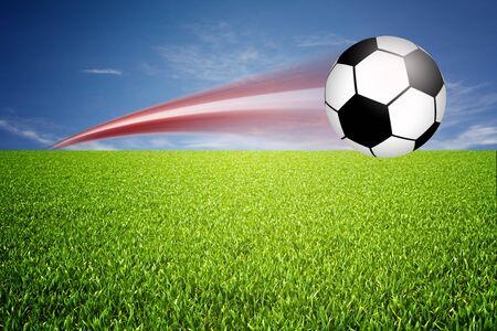 voet bal geschoten op de afbeelding playfield